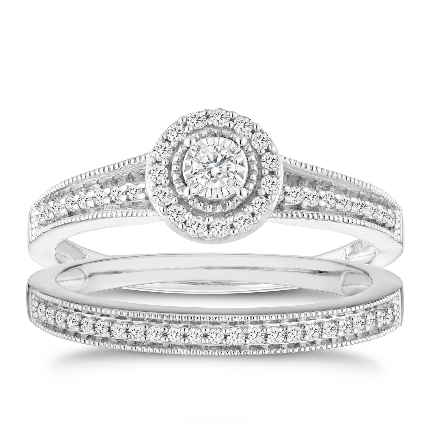 9ct White Gold 0.25ct Total Diamond Halo Bridal Set - Product number 6435092
