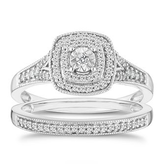 9ct White Gold 0.25ct Total Diamond Illusion Bridal Set - Product number 6435238