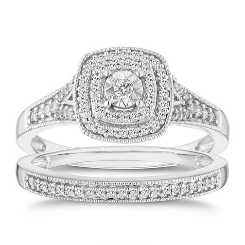 9ct White Gold 1/4ct Diamond Illusion Set Bridal Set - Product number 6435238