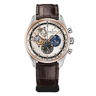 Zenith 18ct Rose Gold El Primero Men's Brown Strap Watch - Product number 6435645