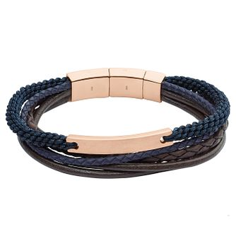 Fossil Men's Multi Colour Leather & Rose Gold Bracelet - Product number 6439993
