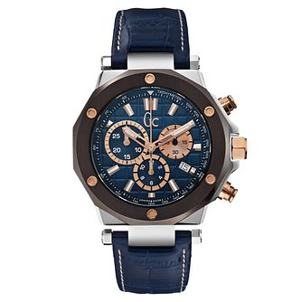 Gc Gc-3 Men's Blue Leather Strap Watch - Product number 6440533