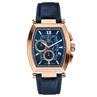 Gc RetroClass Men's Blue Leather Strap Watch - Product number 6440576
