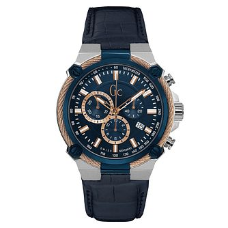 Gc CableForce Men's Blue Leather Strap Watch - Product number 6440673