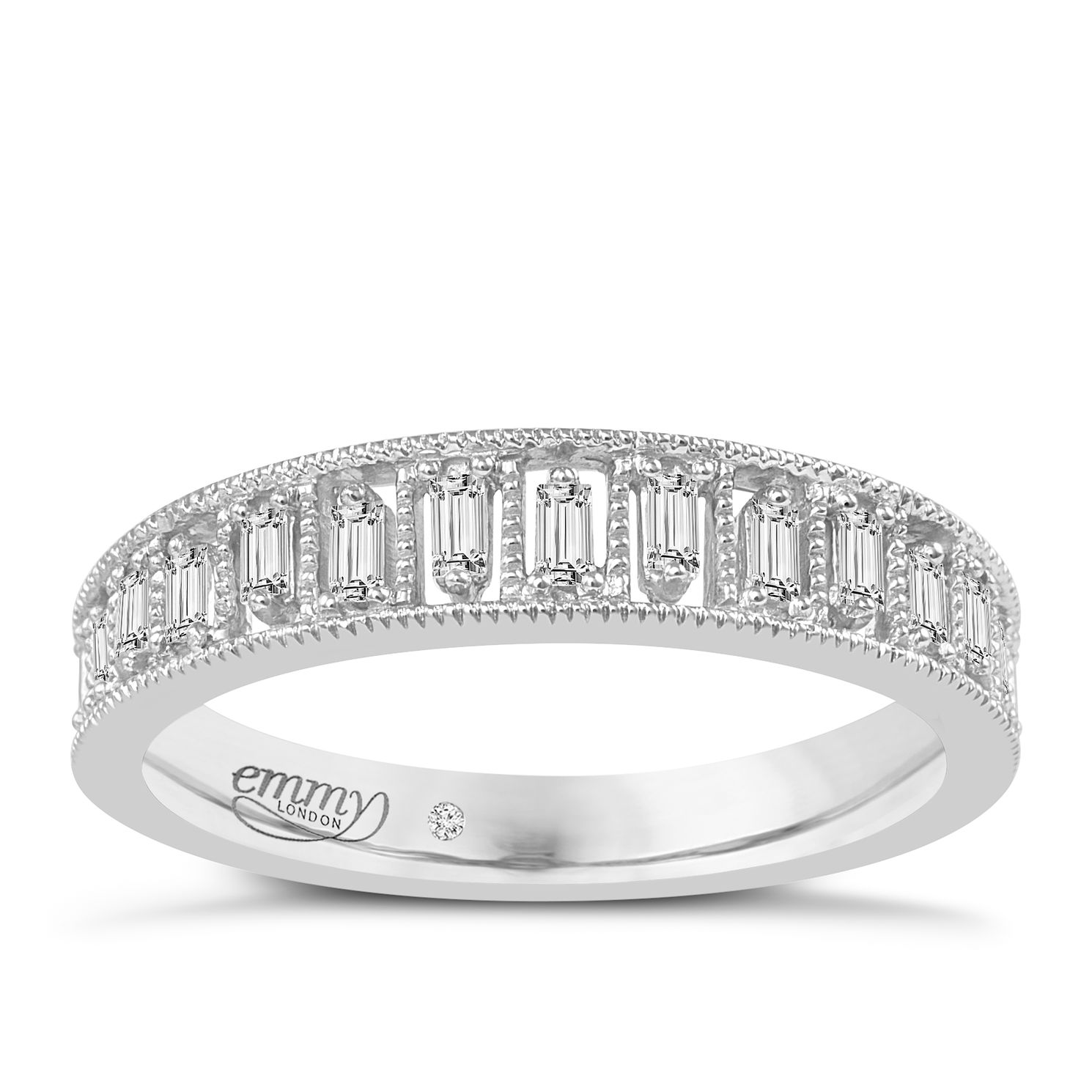 Emmy London Platinum 0.16ct Baguette Cut Diamond Ring - Product number 6442404