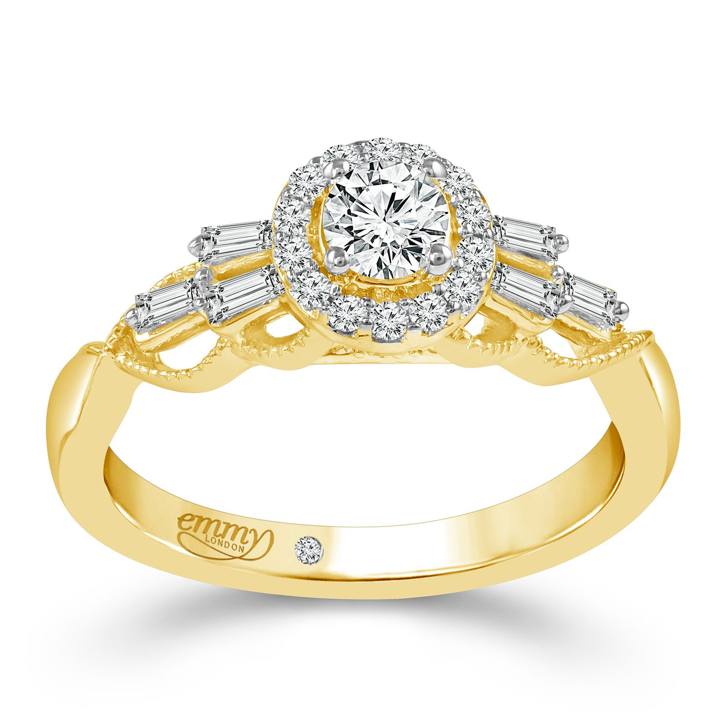 Emmy London 18ct Yellow Gold 1/2ct Diamond Halo Ring - Product number 6450377