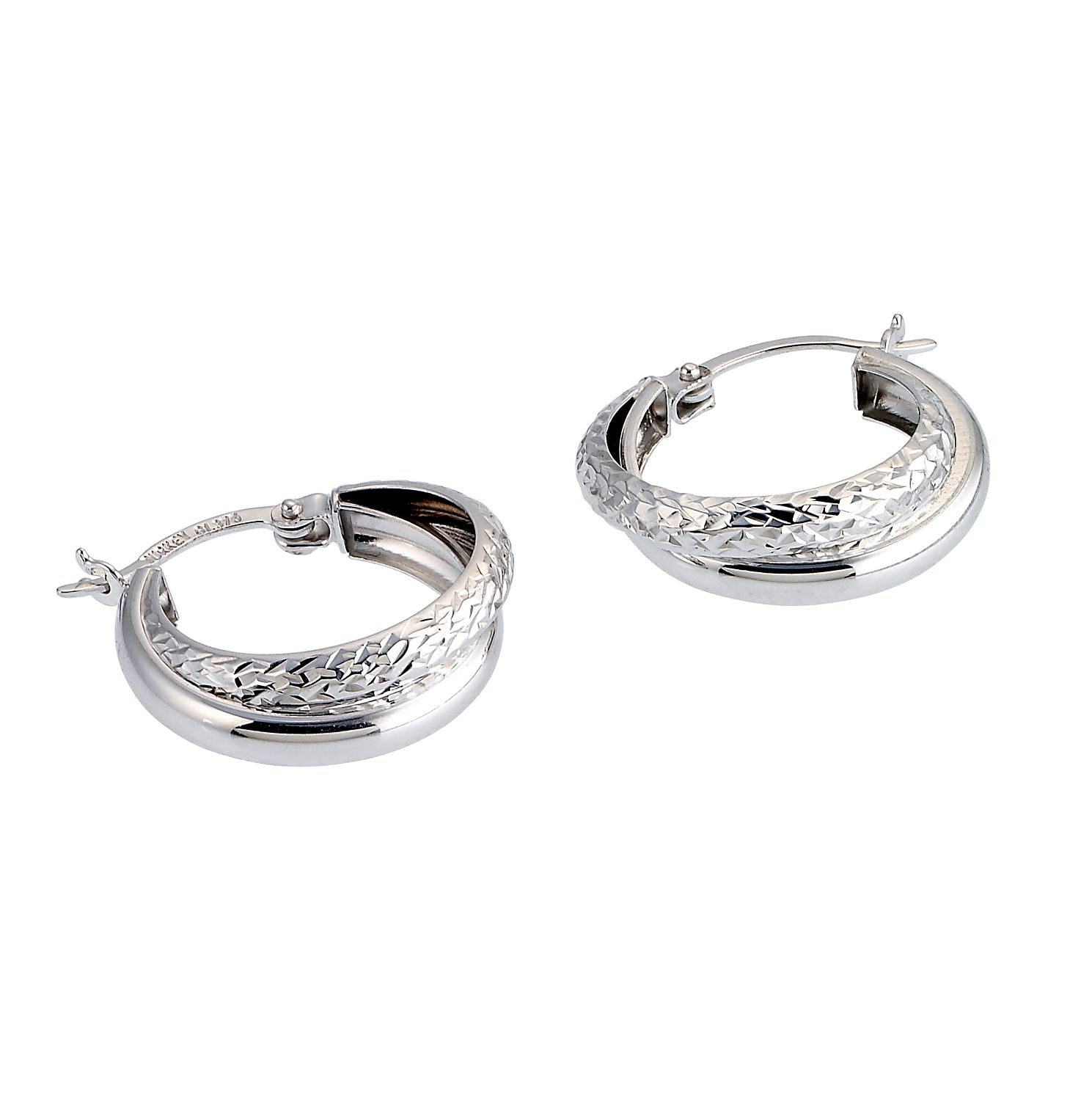 9ct White Gold Diamond Cut 13mm Hoop Earrings - Product number 6467539