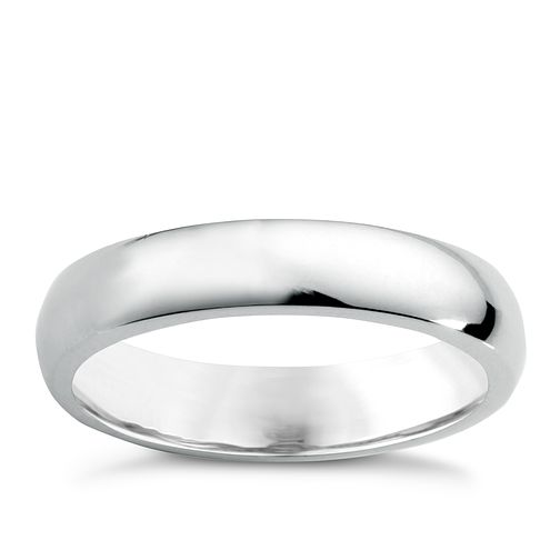 18ct white gold 4mm super heavyweight court ring - Product number 6472052