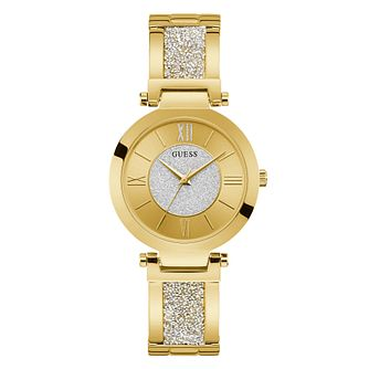 Guess Aurora Ladies' Yellow Gold Tone Glitz Bracelet Watch - Product number 6491561