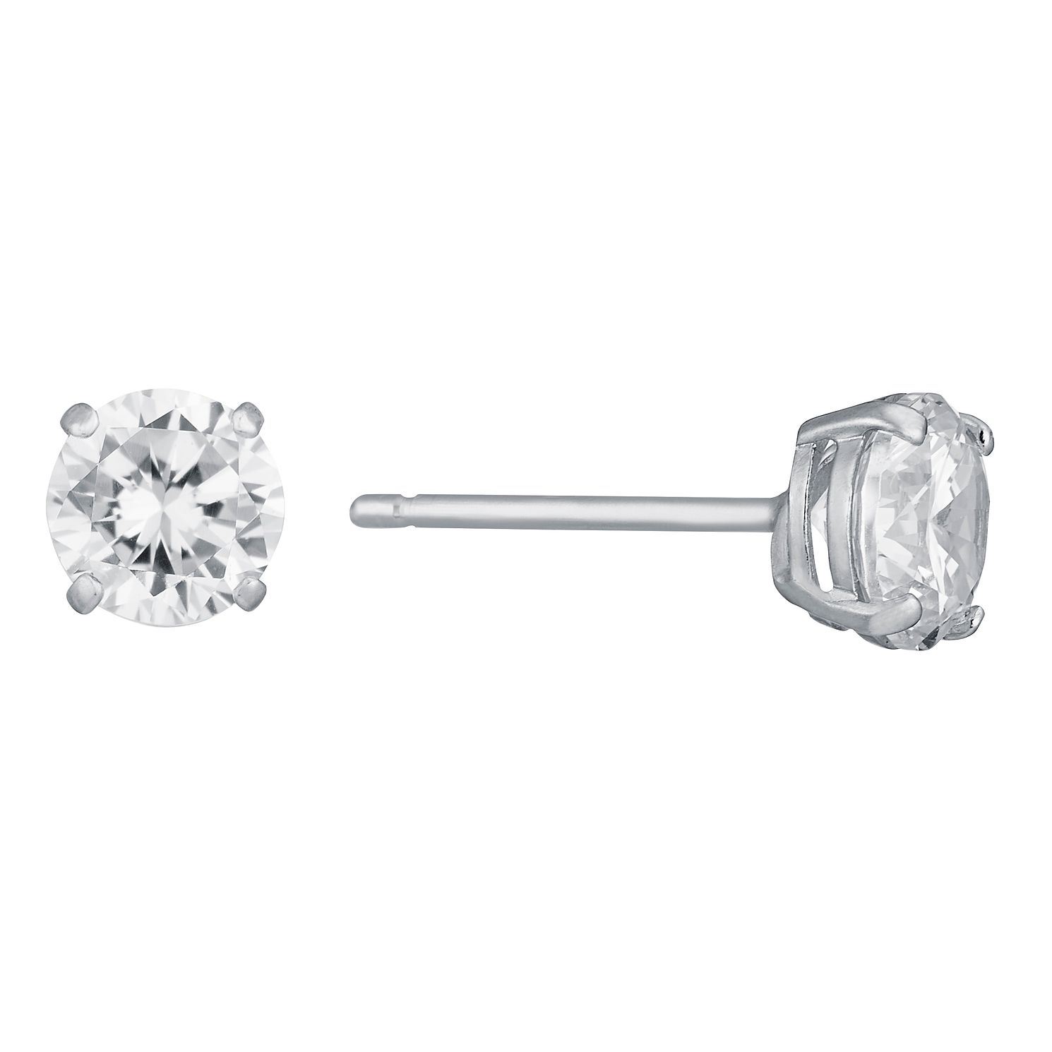9ct White Gold 5mm Cubic Zirconia Stud Earrings - Product number 6516432