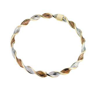 9ct Three Tone Twist Bangle - Product number 6520294