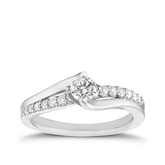18ct White Gold 0.50ct Total Diamond Solitaire Twist Ring - Product number 6529992