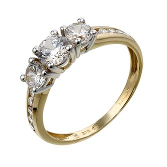 9ct Yellow Gold Three Cubic Zirconia Ring - Product number 6543537