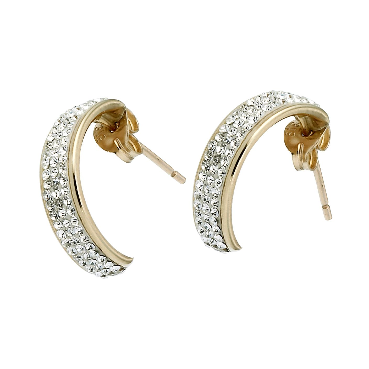 9ct Yellow Gold Crystal 12mm 1/2 Hoop Stud Earrings - Product number 6582613