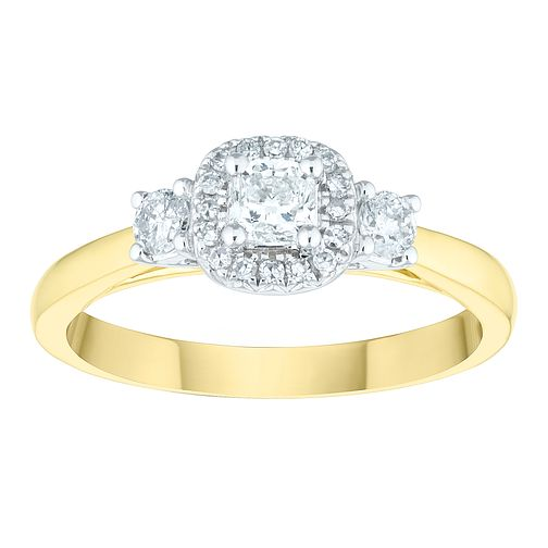 18ct Yellow Gold 1/2 Carat Three Stone Diamond Halo Ring - Product number 6603963