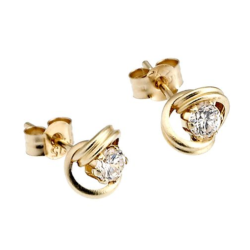9ct Yellow Gold Stud Cubic Zirconia Earrings - Product number 6619177