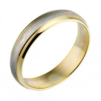 18ct Gold Two Colour 4mm Matt And Polished Court Ring - Product number 6626599
