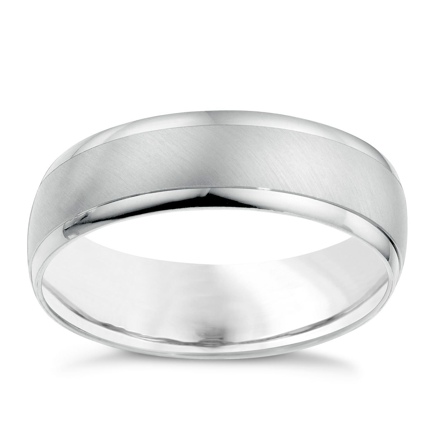18ct White Gold 6mm Matt & Polish Ring - Product number 6628338