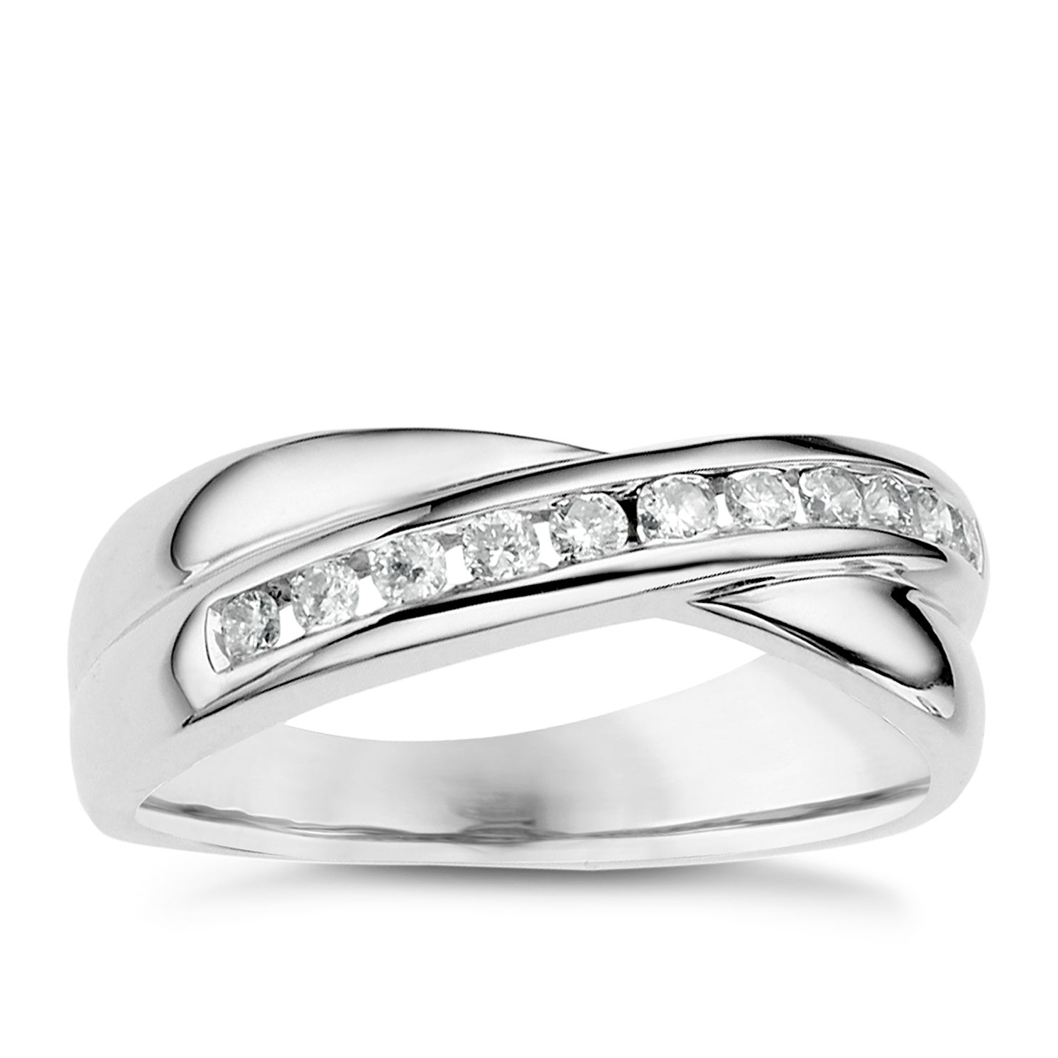 18ct White Gold 0.25ct Diamond Crossover Ring - Product number 6630782