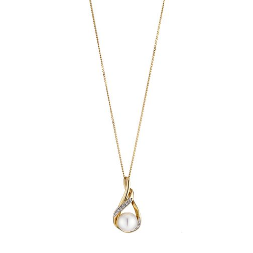 9ct Gold Cultured Freshwater Pearl and Diamond Pendant - Product number 6637248