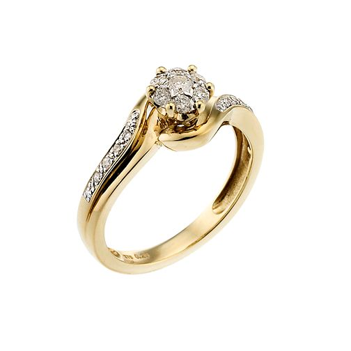 9ct Gold 1/4 Carat Diamond Cluster Ring - Product number 6658296