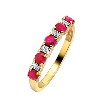 9ct Gold Ruby & Diamond Ring - Product number 6662110