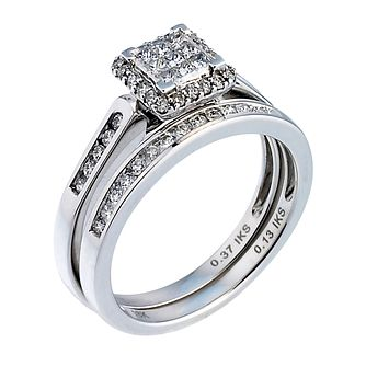 18ct White Gold Half Carat Diamond Princess Cut Bridal Set - Product number 6665306