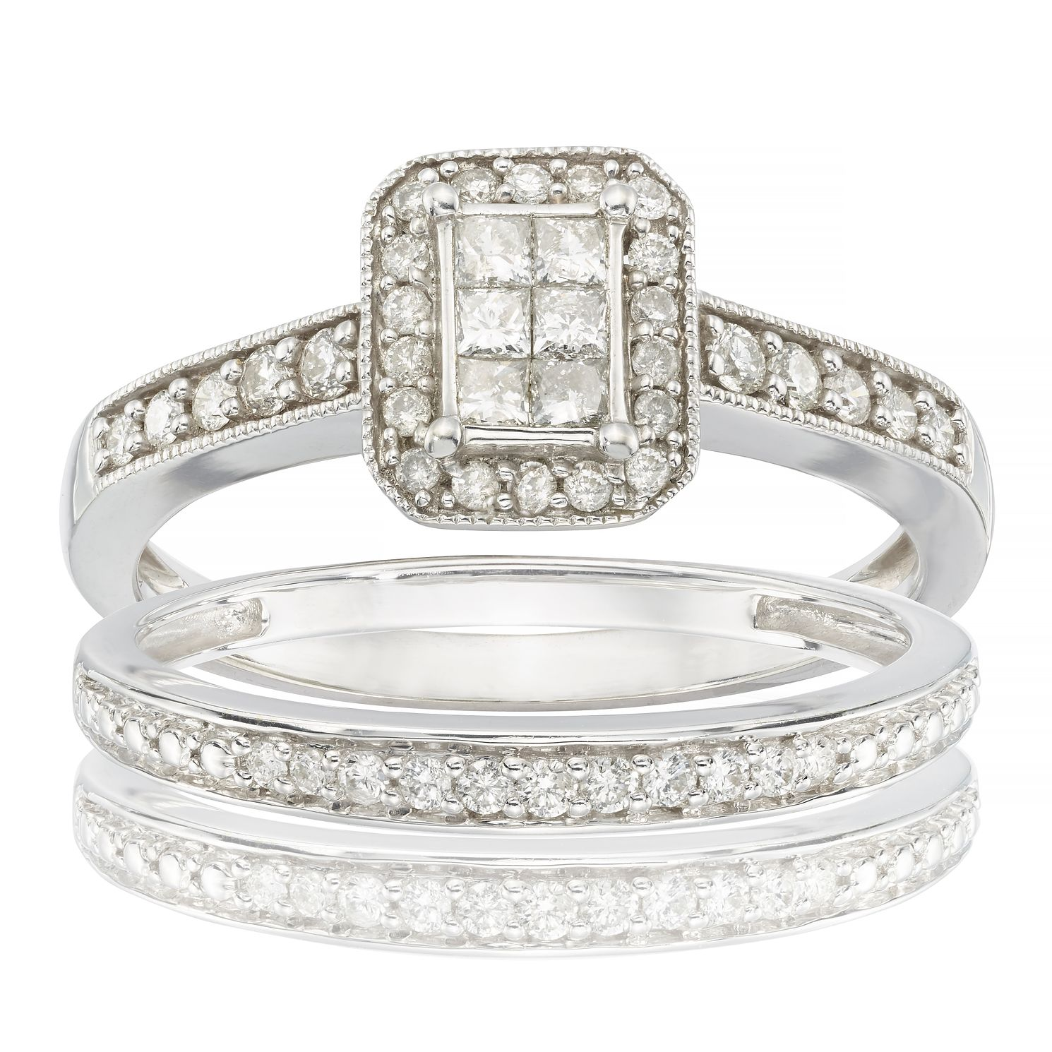 Perfect Fit 9ct White Gold 1/2ct Diamond Cushion Cut Set - Product number 6665985