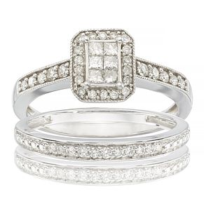 9ct White Gold 1/2ct Diamond Perfect Fit Bridal Set - Product number 6665985