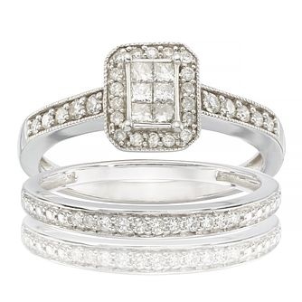 Perfect Fit 9ct White Gold 0.50ct Total Diamond Bridal Set - Product number 6665985