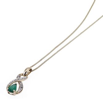 9ct Gold Diamond and Emerald Figure of 8 Pendant - Product number 6669638