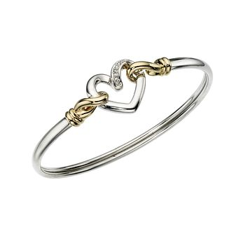Sterling silver & 9ct gold diamond set heart bangle - Product number 6674186