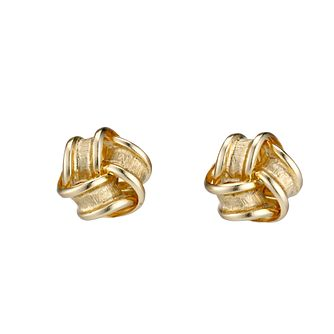 9ct gold satin and polished knot stud earrings 7mm - Product number 6693334