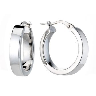 9ct White Gold 15mm Hoop Earrings - Product number 6695590
