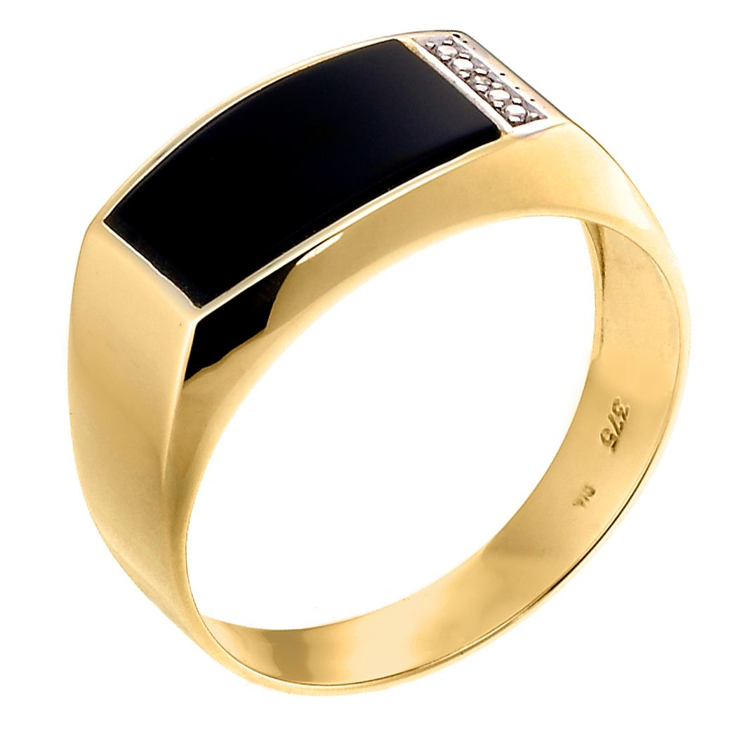 Men's 9ct Yellow Gold Onyx Ring - Product number 6705308