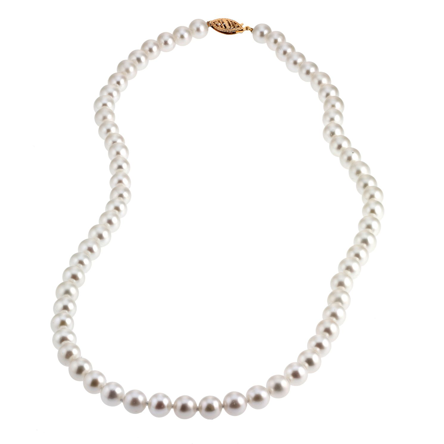 9ct Yellow Gold Certified Cultured Freshwater Pearl Necklace - Product number 6710018
