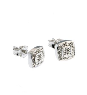 9ct White Gold Diamond Cluster Square Stud Earrings - Product number 6715079