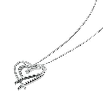 9ct White Gold 0.10ct Diamond Set Double Heart Pendant - Product number 6724418