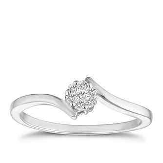 9ct white gold 1/10ct diamond ring - Product number 6751113