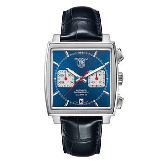 TAG Heuer Monaco Men's Blue Leather Strap Watch - Product number 6756719
