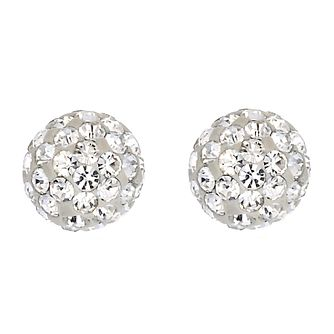 9ct White Gold Crystal Glitter Ball 6mm Stud Earrings - Product number 6835724