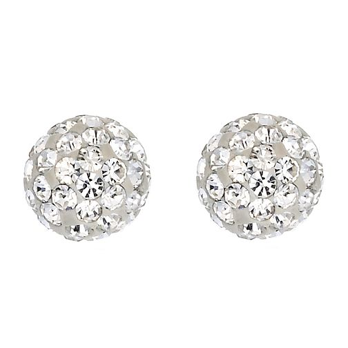 9ct White Gold Crystal Ball Earrings - Product number 6835724