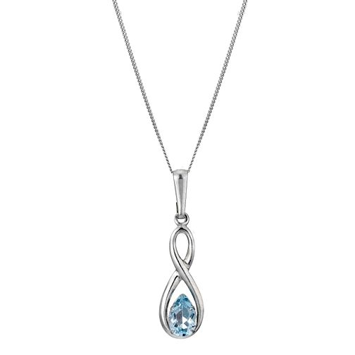9ct White Gold Blue Topaz Figure of Eight Pendant - Product number 6838820