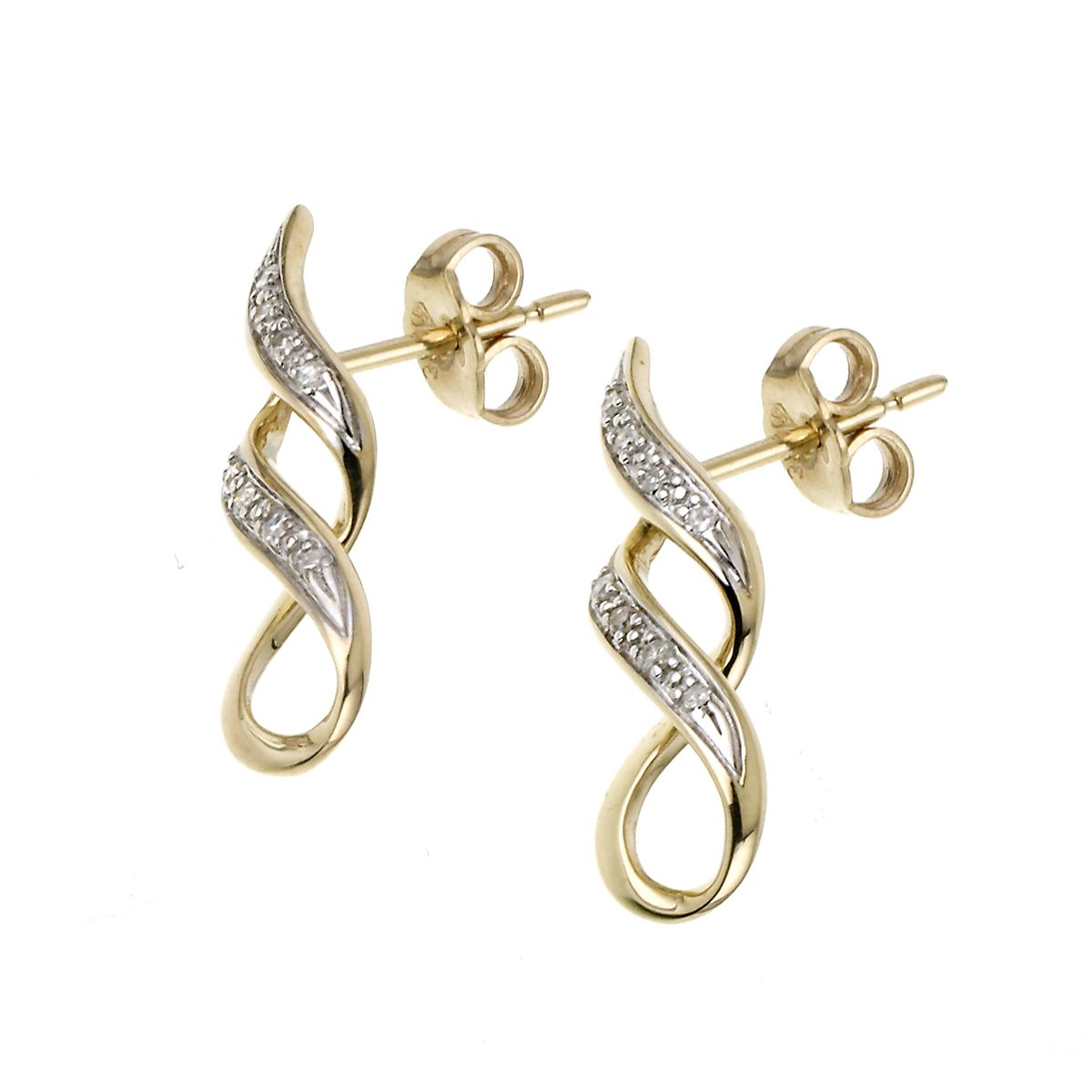 9ct Yellow Gold Diamond Twist Earrings - Product number 6842364