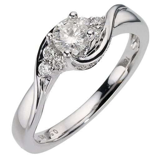 18ct White Gold Half Carat Diamond Solitaire Ring - Product number 6847072