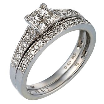 9ct White Gold 1/2ct Diamond Perfect Fit Bridal Set - Product number 6848923