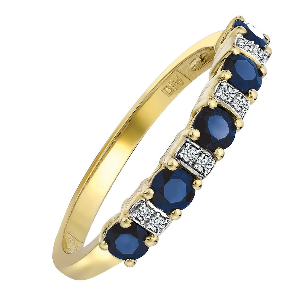 9ct Yellow Gold Rhodium Plated Sapphire & Diamond Ring - Product number 6850553