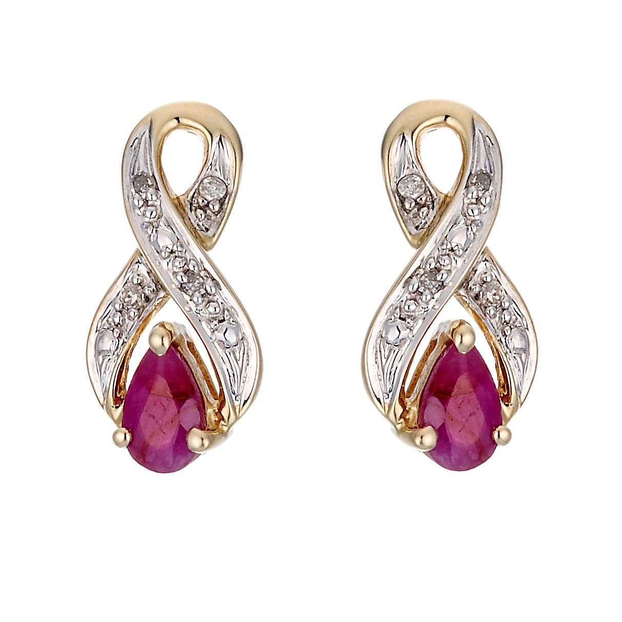 9ct Yellow Gold Rhodium Plated Diamond and Ruby Earrings - Product number 6853684