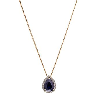 9ct Yellow Gold Sapphire and Diamond Pendant - Product number 6853692