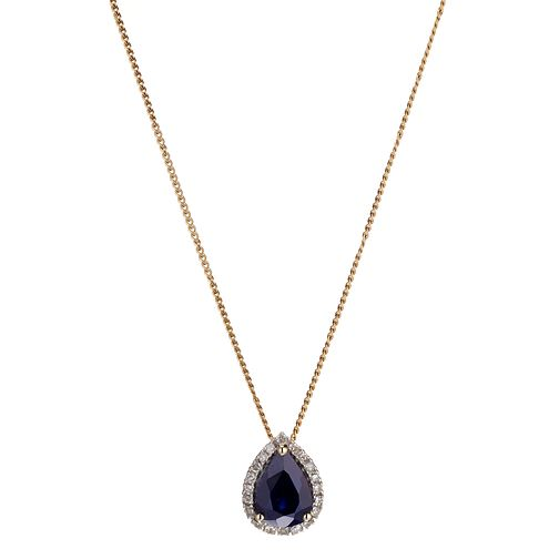 9ct Yellow Gold Rhodium Sapphire and Diamond Pendant - Product number 6853692